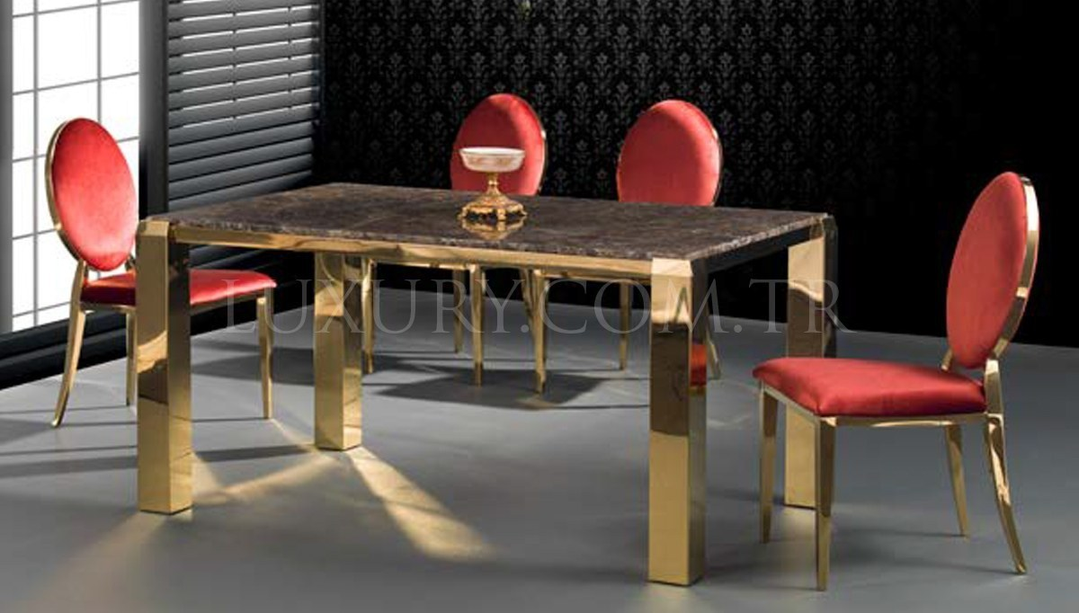 Helenas Gold Metal Yemek Masası