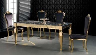 Jarvina Gold Metal Yemek Masası
