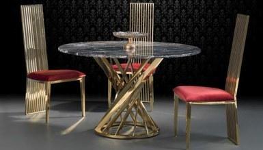 Lapisa Gold Metal Yemek Masası