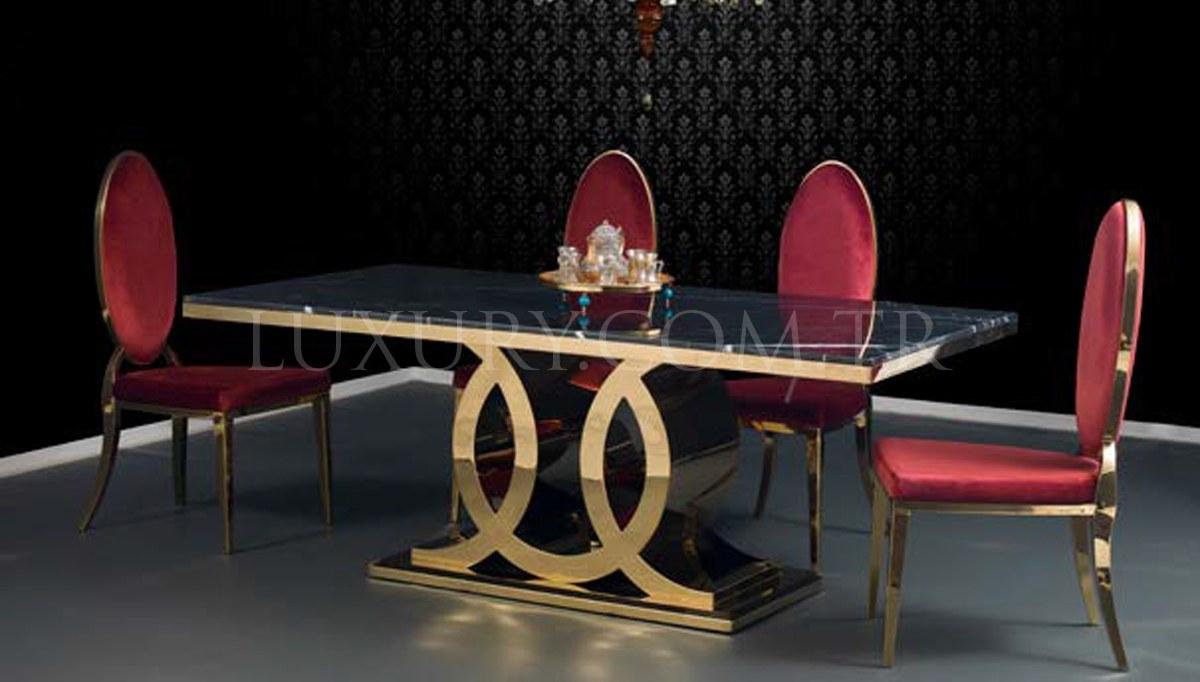 Lefonta Gold Metal Yemek Masası