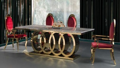 Lorena Gold Metal Yemek Masası - Thumbnail