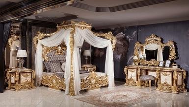 Lüks Aspendos Cibinlikli Klasik Yatak Odası - Thumbnail