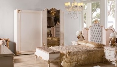 792 - Lüks Bağdat Gold Klasik Yatak Odası