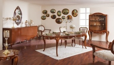 543 - Lüks Begoni Kahverengi Klasik Yemek Odası