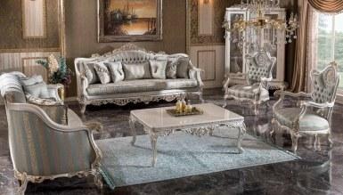770 - Lüks Diana Beyaz Art Deco Koltuk Takımı