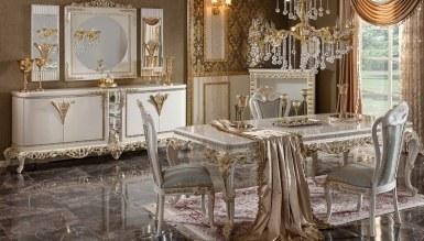 770 - Lüks Diana Beyaz Art Deco Yemek Odası