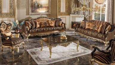 770 - Lüks Diana Siyah Art Deco Koltuk Takımı