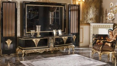 770 - Lüks Diana Siyah Art Deco TV Ünitesi