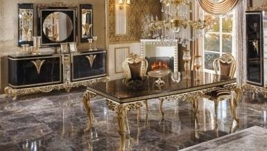 770 - Lüks Diana Siyah Art Deco Yemek Odası