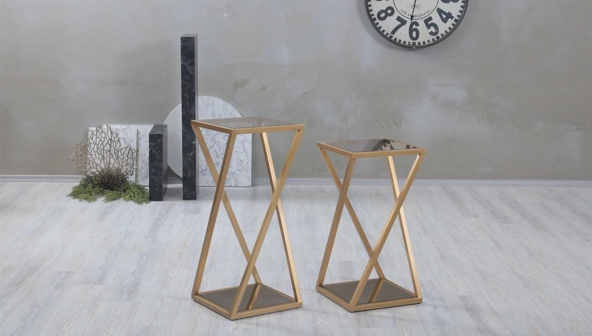 Luks Ekore Metal Fiskos Sehpa Yan Fiskos Sehpalar Modelleri