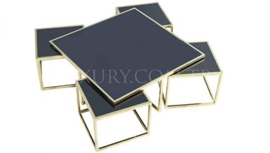 Lüks Guşina Gold Metal Orta Sehpa - Thumbnail