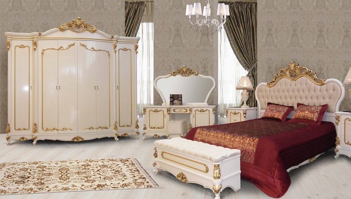 Lüks Hansoy Beyaz Klasik Yatak Odası