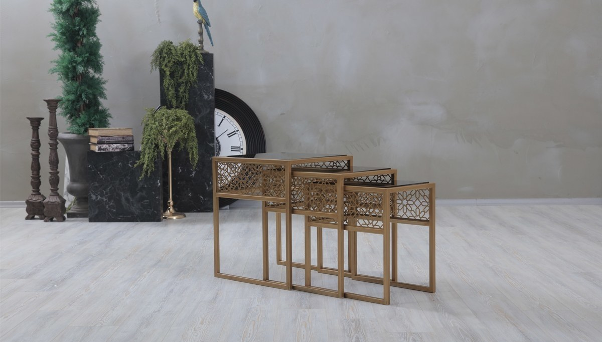 Lüks Karelis Metal Zigon Sehpa