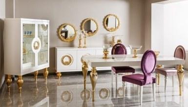543 - Lüks Klasik Moda Beyaz Yemek Odası