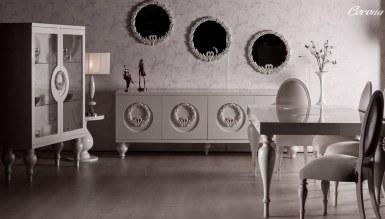 Lüks Klasik Moda Beyaz Yemek Odası - Thumbnail