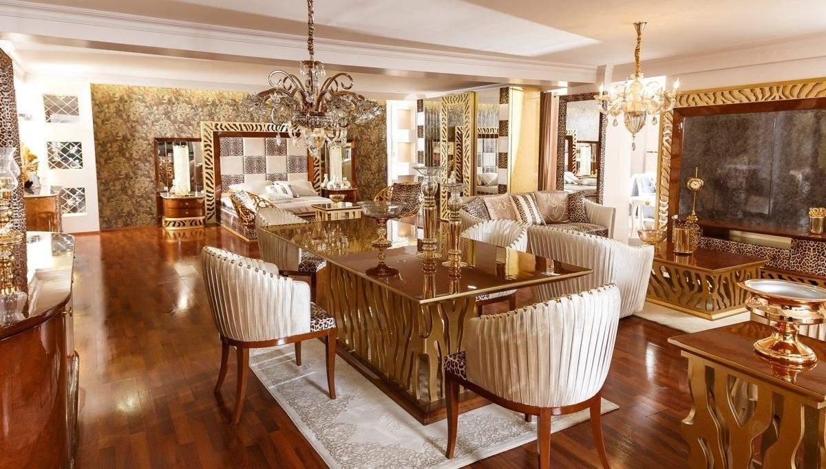Lüks Leopar Klasik Yemek Odası