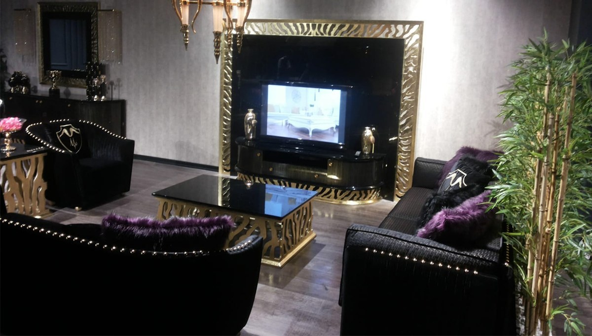 Lüks Leopar Siyah Luxury Koltuk Takımı