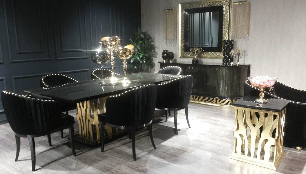 Lüks Leopar Siyah Luxury Yemek Odası