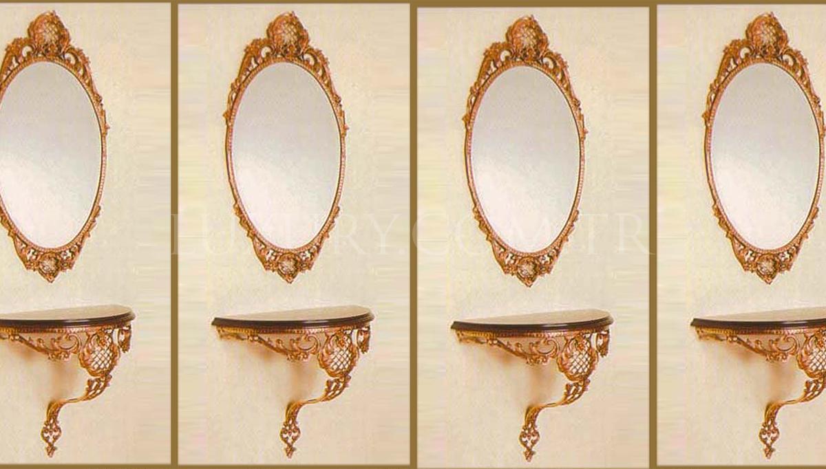 Lüks Oval Bronz Ayna