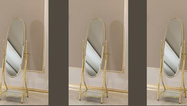 Lüks Oval Pirinç Ayna - Thumbnail