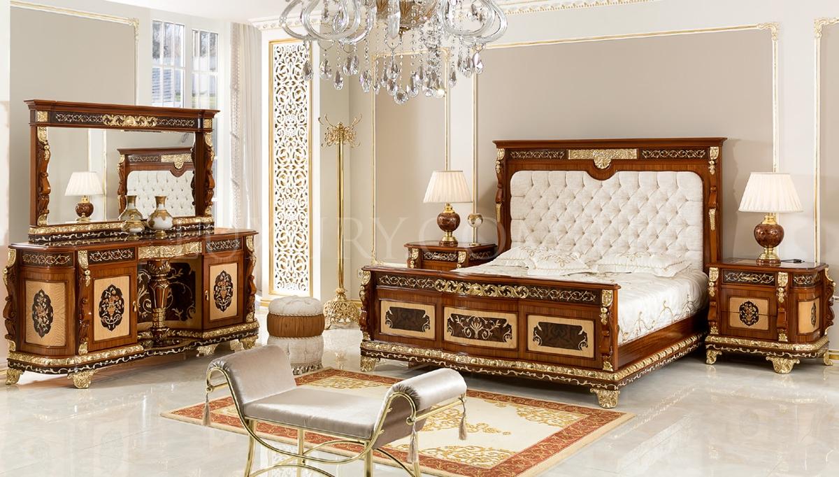 Lüks Partes Klasik Yatak Odası