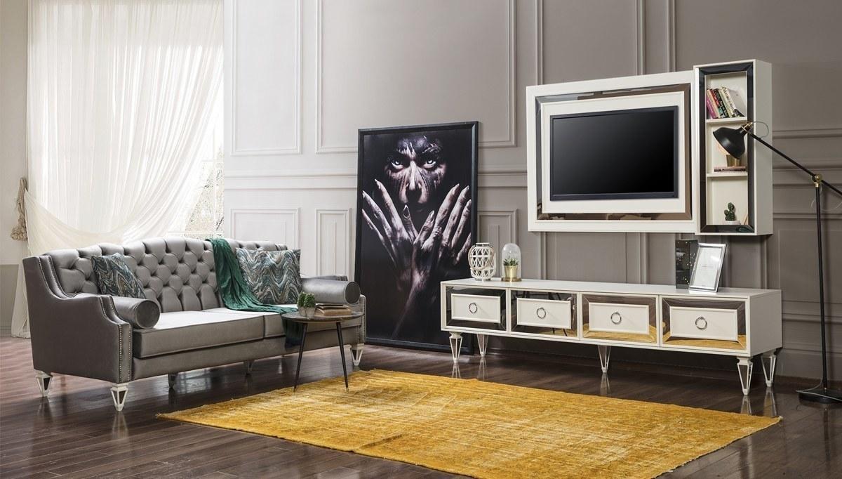 Lüks Pergamon Beyaz TV Ünitesi
