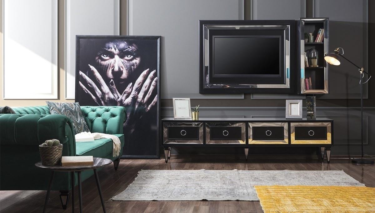 Lüks Pergamon Siyah TV Ünitesi