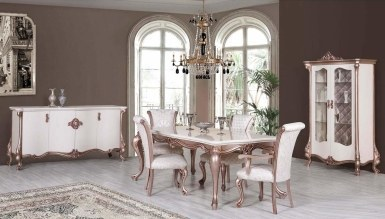 693 - Lüks Pirona Beyaz Yemek Odası