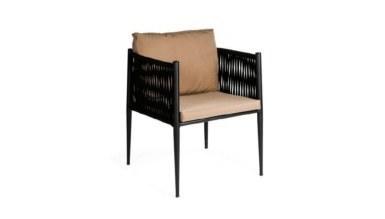 Lüks Rapozo Siyah Örgülü Sandalye - Thumbnail