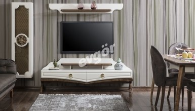 339 - Lüks Retova Ceviz Beyaz TV Ünitesi