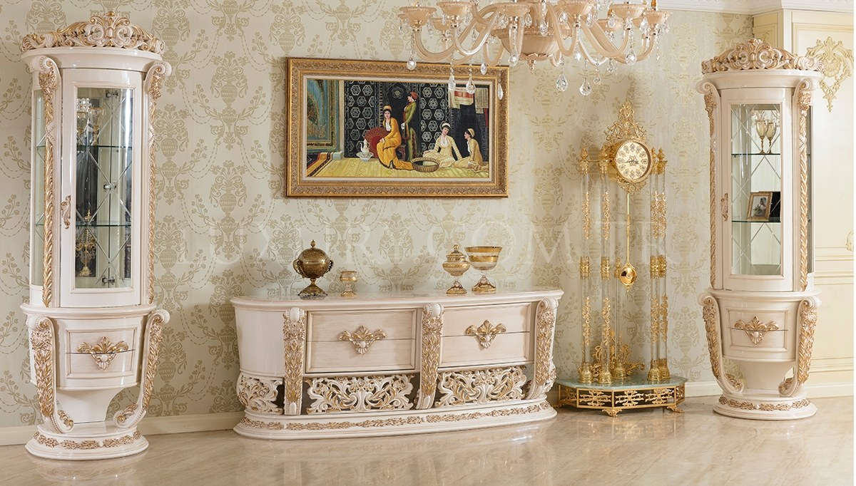 Lüks Royela Klasik Beyaz Yemek Odası