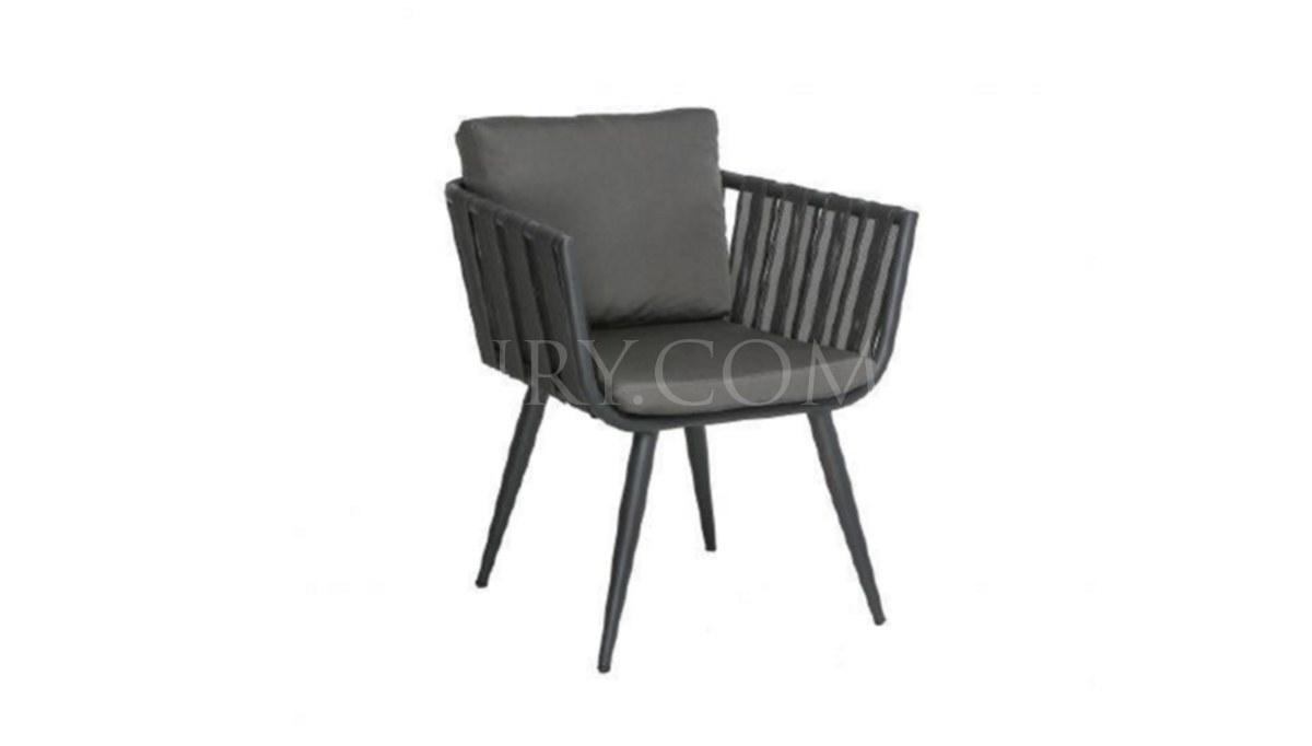 Lüks Rulle Siyah Örgülü Sandalye