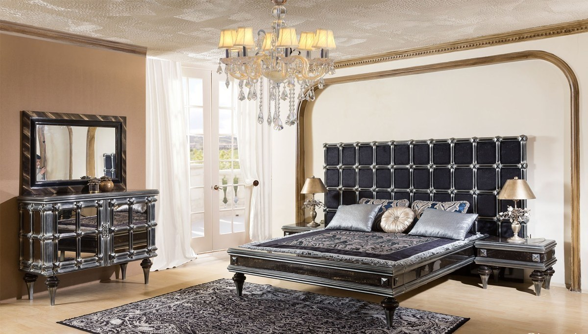 Lüks Sayanora Siyah Klasik Yatak Odası