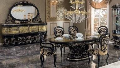 770 - Lüks Sorguç Siyah Klasik Yemek Odası