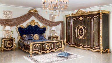 836 - Lüks Tuğrahan Siyah Yatak Odası