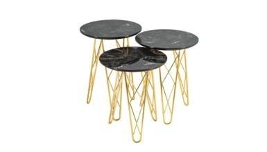 1008 - Lüks Urgen Gold Metal Zigon Sehpa