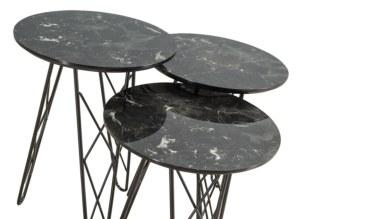 1008 - Lüks Urgen Siyah Metal Zigon Sehpa