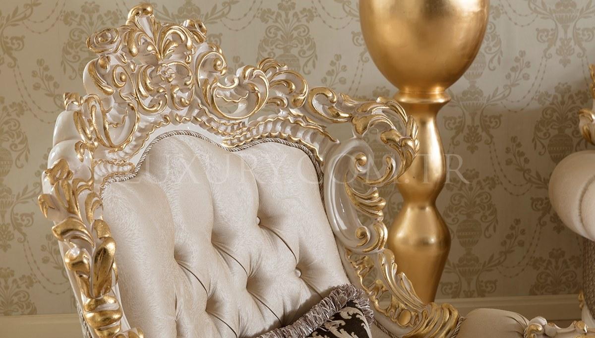 Lüks Venora Klasik Beyaz Koltuk Takımı