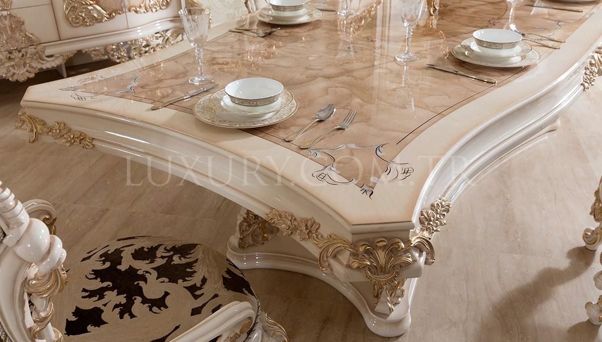 Lüks Venora Klasik Beyaz Yemek Odası