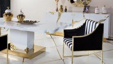 Luxury Metal Beyaz Yemek Odası - Thumbnail