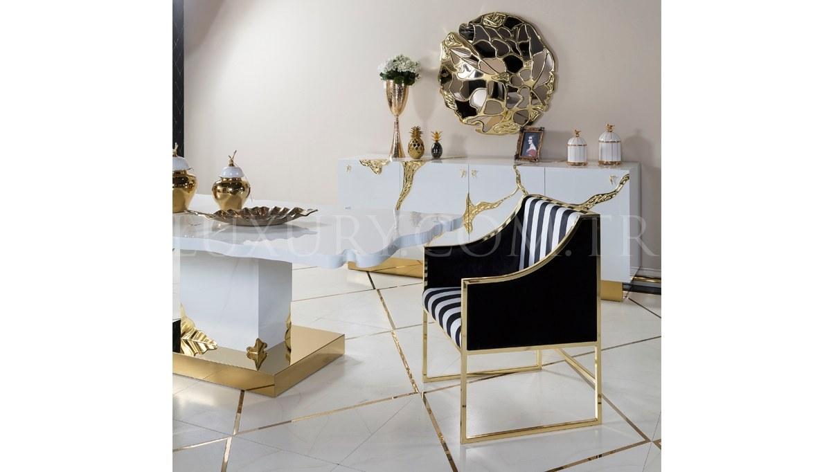 Luxury Metal Beyaz Yemek Odası