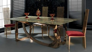 985 - Maseras Gold Metal Yemek Masası
