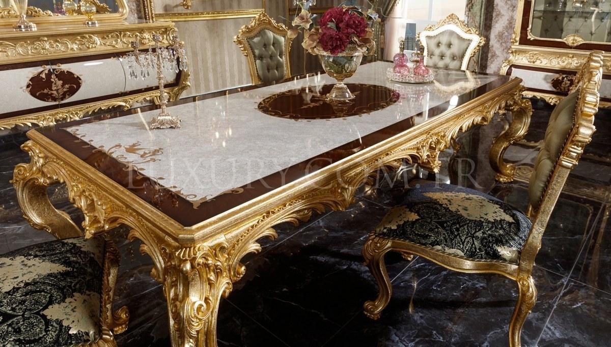 Monesa Altın Varaklı Yemek Odası