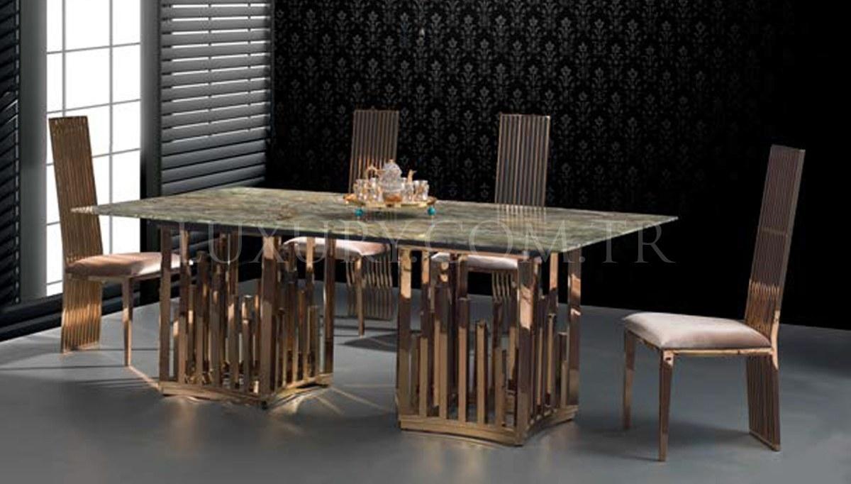 Patrona Gold Metal Yemek Masası
