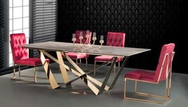 985 - Portena Gold Metal Yemek Masası