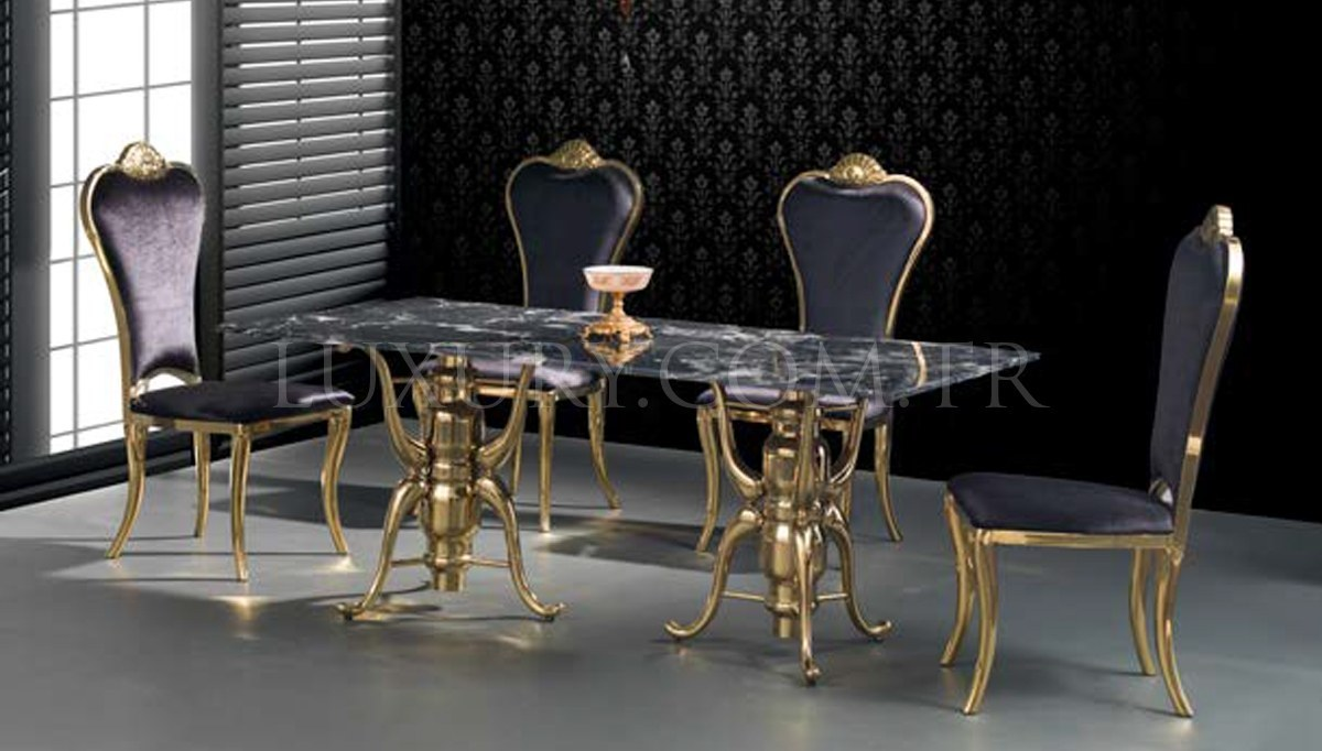 Portivo Gold Metal Yemek Masası