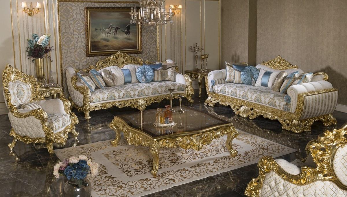 Rönesta Altın Varaklı Klasik Koltuk Takımı