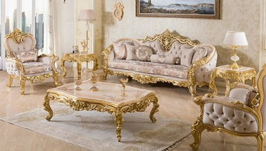 Sofia Altın Varaklı Koltuk Takımı - Thumbnail