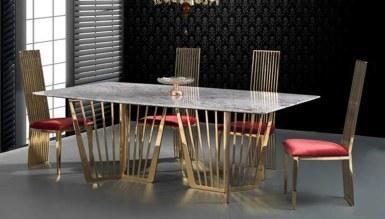 Vestona Gold Metal Yemek Masası